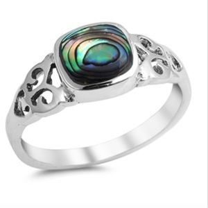Abalone sterling silver ring